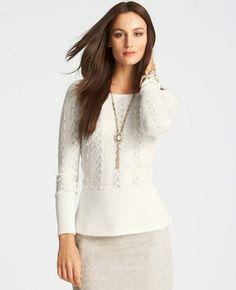 Textured Peplum Sweater on shopstyle.com