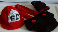 Firefighter Fireman hat 4 piece set Newborn Photo Prop $39.99  Other colors available.  Click here for more details:  http://www.etsy.com/listing/101568837/firefighter-fireman-hat-4-piece-set?utm_source=Pinterest&utm_medium=PageTools&utm_campaign=Share