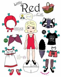 """Opposite of Far, Story Book, collaboration, """"Little Red and Wolf"""" Paper-Doll set, printable paper dolls, Little Red Riding Hood, Halloween"""