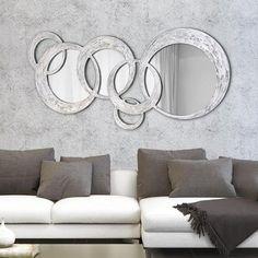 P2934 - Circles di PINTDECOR cm178x84 (specchio 57x44 – 26x40 – 30x47) Struttura traforata decorata a mano con materico e foglia argento in rilievo, affissione orizzontale / verticale, finitura semi lucida. #specchio #specchiera #p2934 #circles #pintdecor