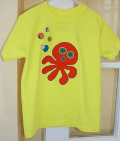 Summer Fun  Yellow Octopus Appliqued Short Sleeved by WetBagIt, $26.00 *Use coupon code CyberMonday2013 at check out to receive free shipping