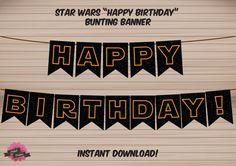 STAR WARS inspired Happy Birthday Bunting Banner  by DaliahDesigns