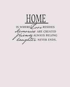 Home is where love resides, memories are created, friends always belong and laughter never ends!