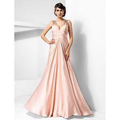 Formal Evening / Prom / Military Ball Dress - Pearl Pink Plus Sizes / Petite Sheath/Column V-neck Floor-length Satin Chiffon – USD $ 129.99