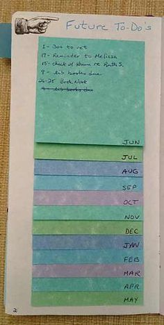 Great way to do bullet journal future planning with post it notes! Great way to do bullet journal future planning with post it notes!,* Planner Perfect Group Board Great way to do bullet journal. To Do Planner, Passion Planner, Life Planner, Happy Planner, Year Planner, Journal Layout, Journal Pages, Journal List, Bullet Journal Future Log Layout