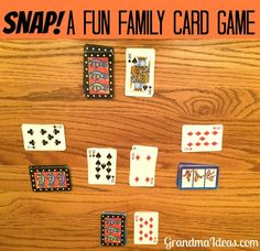 Snap is a fun card game for the whole family. All you need is a deck of cards -- they keep your eyes open to see if your card matches someone else's! Family Card Games, Fun Card Games, Card Games For Kids, Playing Card Games, Kids Cards, Party Games, Games With Cards, Best Card Games, Dice Games