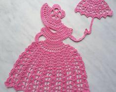 Croprchet Crinoline Lady Doily lace Applique girl by CrochetBySirik