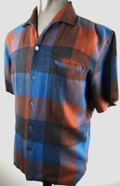 "VINTAGE 1950s ROCKABILLY SHADOW PLAID TOP LOOP  VLV ""SIR GUY"" STYLE SHIRT-LARGE"