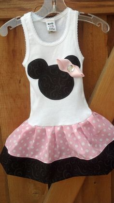 Baby Pink Polka Dot Minnie Mouse Dress Available in by RNBDesignz, $29.95