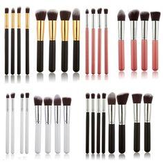 Professional High Quality 8 pcs Nylon hair Silver Handle Cosmetic #MakeupBrushSet