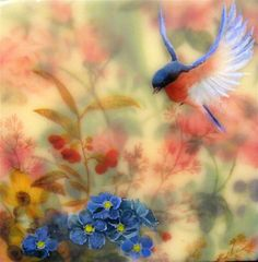 "Daily+Paintworks+-+""Blue+Bird+in+My+Garden+#3""+-+Original+Fine+Art+for+Sale+-+©+Danielle+M.+Le++Bris"