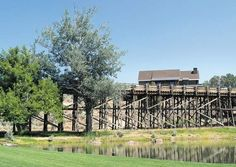 An old irrigation trestle, once used to carry water to livestock at the erstwhile Shumway Ranch, is now an icon of Brasada Ranch -- The Bulletin