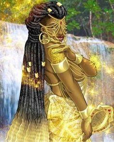 African Mythology, African Goddess, Wicca, Oshun Goddess, Orishas Yoruba, Yoruba Religion, Goddess Tattoo, Black Goddess, Black Costume