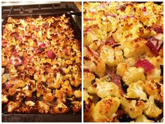 One of my favorite dishes to make (and it's easy too!) -1 head of cauliflower cut into small florets -1 red onion, cut in large pieces and separated into single pieces -1 whole garlic peeled and minced -drizzled olive oil -salt Toss together, roast in single layer at 400 degrees for 1 hour. Yummy!!!! :) Ww Recipes, Real Food Recipes, Cooking Recipes, Healthy Recipes, Delicious Recipes, Easy Vegetable Recipes, Vegetable Sides, Good Food, Yummy Food