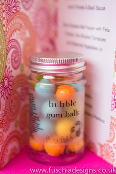 Our cute candy jars are perfect to bring the fun factor to your wedding.  These bright and colourful not to mention delicious bubble gum ball candy jar favours are great for Asian weddings.  £2.99 from www.fuschiadesigns.co.uk
