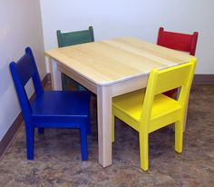 Children's Wood-top Table and Large Chairs