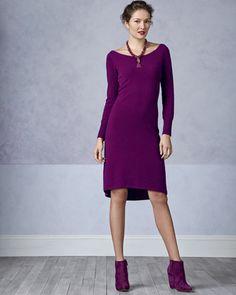 Neiman Marcus Bateau-Neck High-Low Cashmere Dress - Neiman Marcus