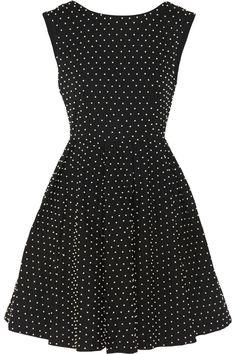 Alice + Olivia|Faux pearl-embellished cotton mini dress|NET-A-PORTER.COM