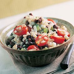Black Bean & Barley Salad. Just made this, except garnished with queso fresco instead of adding jack cheese and used a LOT of crushed red pepper. Tasty!