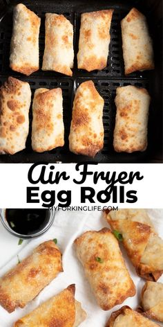 These air fryer egg rolls are made with shrimp and pork and come together quickly and easily. Cooked in the air fryer it's so easy to make crispy spring rolls without the need for lots of oil. You will love these Chinese appetizers! Egg Roll Recipes, Air Fry Recipes, Air Fryer Recipes Easy, Shrimp Recipes Easy, Appetizer Recipes, Wonton Recipes, Pork Recipes, Seafood Recipes, Chicken Recipes