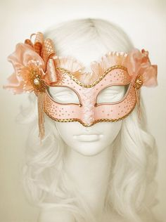 Light Salmon Pink And Gold Masquerade Mask - Venetian Mask With Various Accents