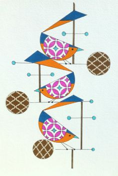 Atomic Mid Century Modern Styled Birds Original By Colbyandfriends 50 00 Art