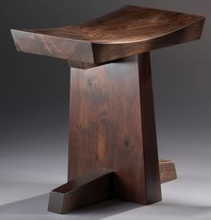 "Contemporary 3 Seat Claro Walnut Bench, ""Grafted""."