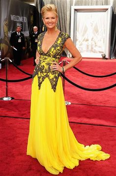 the color yellow ...wow she pulled it off... love this dress