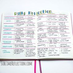 Like the Daily Reflection Questions in this bullet journal spread. Bullet Journal Reflection, Bullet Journal Vidéo, Daily Journal, Bullet Journal Layout, Bullet Journal Ideas Pages, Journal Pages, Bible Bullet Journaling, Bible Journal, Journal Prompts