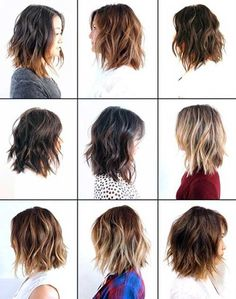 bob lob baylage hair haircut middle middle and right top middle and right bottom middle and right Medium Long Hair, Medium Hair Cuts, Short Hair Cuts, Medium Hair Styles, Curly Hair Styles, Mid Length Hair, Shoulder Length Hair, Layered Haircuts, Cool Haircuts