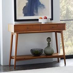Mid-Century Console #westelm $399 + $30 shipping purses on bottom shelf; shoes below shelf; sunscreen in drawer, basket on top for keys, sunglasses, basket on top for mail
