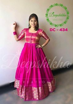 Beautiful pink color floor lenght dress with kanchipuram silk om boarder. Code : DC 434 For queries kindly WhatsApp : Long Dress Design, Dress Neck Designs, Blouse Designs, Saree Gown, Sari Dress, Punjabi Dress, Punjabi Suits, Saree Blouse, Designer Anarkali Dresses