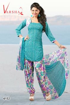 Varsha Dark Turquoise Printed Fabric Unstitched Suit With Dupatta  Price: Rs.487/- Only!! *Cash on Delivery Available!! Hurry!! Limited period Offer!!
