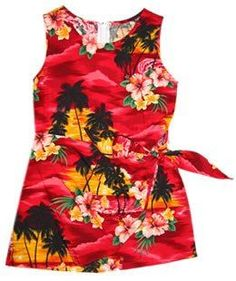 Sunburst Red Hawaiian Girl's Sarong Floral Dress   #sundress #hawaiianweddingdress #girlhawaiiandress #floraldress #hawaiiandresses #sexyhawaiiandresses #girlsundress #hawaiiandress