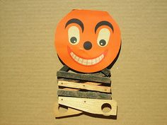 Vintage Halloween Toy ~ Jack O' Lantern Wood and Cardboard Toy · Scissor Action Handle