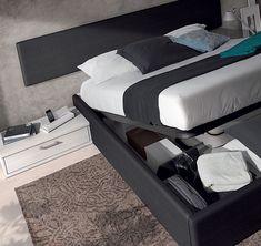 nuevo catálogo nott de muebles arasanz aprovechando el espacio en el dormitorio de matrimonio, detalle de canapé abatible textil ; mobles tatat horta guinardó barcelona www.moblestatat.com