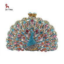Cristal de lujo de noche del pavo real del diamante embrague de tarde banquete de boda del bolso monedero Bling banquete real S0801(China (Mainland))
