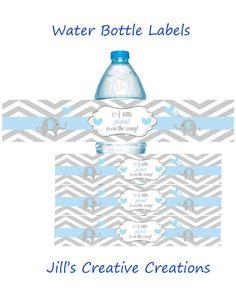 Elephant Baby shower water bottle labels