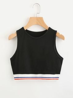 To find out about the Contrast Striped Hem Crop Tank Top at SHEIN, part of our latest Tank Tops & Camis ready to shop online today! Girls Fashion Clothes, Teen Fashion Outfits, Stylish Outfits, Cool Outfits, Girl Fashion, Fashion Ideas, Fashion Black, Punk Fashion, Lolita Fashion