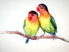 Lovebirds original watercolor painting 9X12