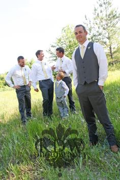 Groom best man groomsmen wedding photography outdoors yellow gray