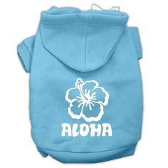 Aloha Flower Screen Print Pet Hoodies Baby Blue Size Med (12)
