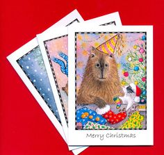 GUINEA PIG & CAPYBARA  Christmas Cards pack of 6  by Suzanne Le Good