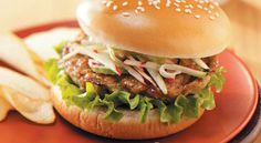 Buffalo Chicken Burgers with Tangy Slaw Recipe -These burgers are my way of enjoying the flavors of Buffalo chicken wings while avoiding some of the fat and calories. Slaw Recipes, Burger Recipes, Healthy Recipes, Healthy Cooking, Blue Cheese Burgers, Blue Cheese Salad, Buffalo Chicken Burgers, Beef Burgers, Gourmet Burgers