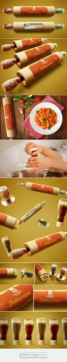 Rolling pin Pasta Packaging with spice bottle handle designed by Breno Cardoso (Brazil) - http://www.packagingoftheworld.com/2016/03/sapore-di-nonna-special-pasta-packaging.html