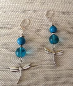 Dragonfly earrings Blue beaded shiny stainless by SimplyDeborah, $12.00