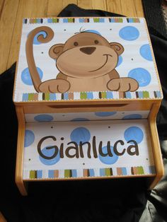 Hey, I found this really awesome Etsy listing at http://www.etsy.com/listing/97526517/personalized-storage-step-stool-blue