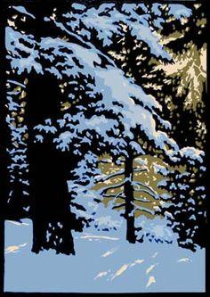 Laura Wilder - Winter Woods I, Linocut Winter Landscape, Landscape Art, Landscape Paintings, Winter Art, Wood Engraving, Linocut Prints, Tree Art, Printmaking, Scenery