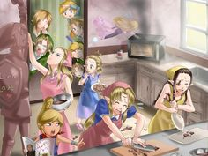 Zeldas and Links, lol Oh, those kitchen disasters.... <<---- Of course Tetra is ordering everyone around. :)