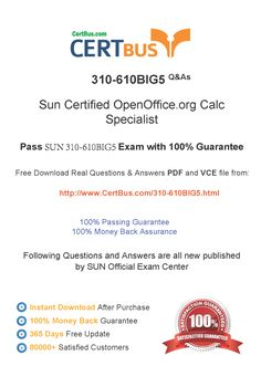 Candidate need to purchase the latest SUN 310-610BIG5 Dumps with latest SUN 310-610BIG5 Exam Questions. Here is a suggestion for you: Here you can find the latest SUN 310-610BIG5 New Questions in their SUN 310-610BIG5 PDF, SUN 310-610BIG5 VCE and SUN 310-610BIG5 braindumps. Their SUN 310-610BIG5 exam dumps are with the latest SUN 310-610BIG5 exam question. With SUN 310-610BIG5 pdf dumps, you will be successful. Highly recommend this SUN 310-610BIG5 Practice Test.